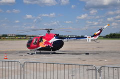 Red Bull MBB Bo-105. MBB Bo-105 Helicopter sponsored by Red Bull, at Bucharest International Air Show (BIAS) 2015 royalty free stock photos