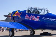 Red Bull - nordamerikanischer Texaner der Luftfahrt-T-6 Lizenzfreies Stockfoto
