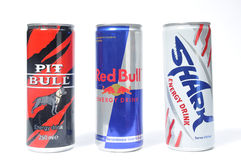 Red bull, pit bull, shark. Energy drink on white backrgound stock image