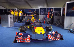 Red Bull RB7 racing car. KYIV, UKRAINE - MAY 19, 2012: Red Bull RB7 racing car in the pit during Red Bull Champions Parade on the streets of Kyiv city Stock Photography