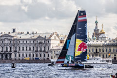 Red Bull Sailing Team catamaran on Extreme Sailing Series Act 5 catamarans race on 1th-4th September 2016 in St. Petersburg Stock Photography