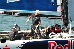 Red Bull Sailing Team crew managing rope at Extreme Sailing Series Singapore Royalty Free Stock Photo