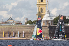 Red Bull Sailing Team and Sail Portugal catamarans on Extreme Sailing Series Act 5 catamarans race Stock Photography