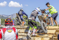 Red Bull Sea To Sky. Antalya, TURKEY.  Day 1, Beach race. Riders has to compete in a circuit race against time in Motocross & Super Enduro styles Stock Images