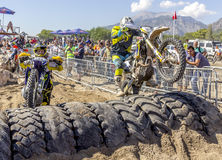Red Bull Sea To Sky. 2015 Antalya, TURKEY.  Day 1, Beach Race. Riders has to race against time in circuit with mixed styles. Both Motocross Royalty Free Stock Photo