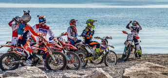 Red Bull Sea To Sky. 2016 Antalya, TURKEY. Riders waiting for press for shootout at the beach race stage Stock Photography