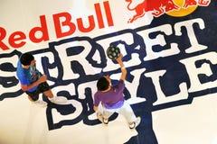 Red Bull-Straßenart-Konkurrenzschluß Lizenzfreies Stockfoto