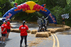 The Red Bull Trolley Grand Prix 2015. AUCKLAND - NOV 22 2015:Dream trolley race at Red Bull Trolley Grand Prix.It's a novelty downhill race of unpowered vehicles Stock Photo