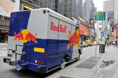 Red Bull van parked on the Broadway Royalty Free Stock Photography