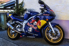 Red Bull Yamaha. A beautiful blue Yamaha with the Red Bull brand on it Stock Photo