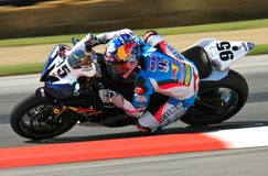 Red Bull Yamaha racing. JD Beach races the Red Bull sponsored Suzuki Yamaha YZF-R6 super bike at the pro motorsports super motorcycle racing event, Central Ohio stock photography