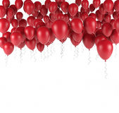 Red bunch of Birthday balloons isolated in white. 3d render. Ing Stock Photography