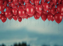 Red bunch of Birthday balloons in the sky. 3d render. Ing Royalty Free Stock Photo