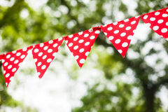 Red bunting flags Stock Photo