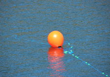 Red buoy with blue rope in water marking an anchor Royalty Free Stock Photos