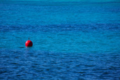 Red buoy  floating blue sea perspective Royalty Free Stock Images