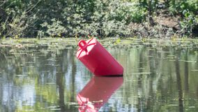 Red buoy in a large pond Stock Photography