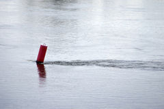 Red buoy in the river flow Stock Photography