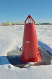 The red buoy on the river. Royalty Free Stock Photography