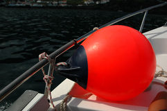 Red buoy's on a boat Royalty Free Stock Images
