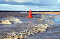 Red buoy. The red buoy washed ashore Royalty Free Stock Image