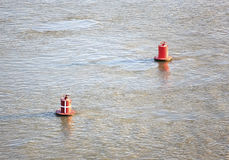 Red buoys on river. Royalty Free Stock Photo