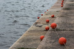 Red buoys on the waterfront Royalty Free Stock Images