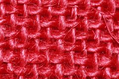 Red sackcloth fabric weave royalty free stock image