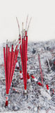 Red burned Incense sticks Royalty Free Stock Photo