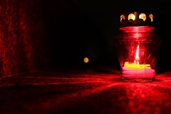 Red burning candle Stock Photo