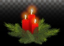 Red burning candles in the branches of a Christmas tree. Vector. Festive composition with burning candles. Branches of Christmas trees and red candle for decor Stock Photos