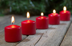 Red Burning Candles Royalty Free Stock Photography