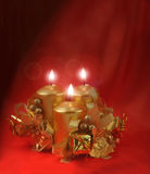 Red burning candles vert Royalty Free Stock Photos