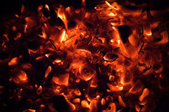 Red burning coals Stock Photo