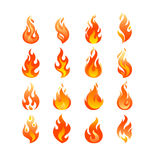 Red Burning Fire Flame Logo set design vector template Royalty Free Stock Photo