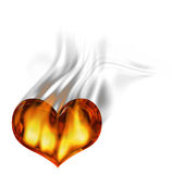 Red burning heart with flames and smoke over white. Background Stock Photo