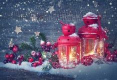 Red burning lantern Royalty Free Stock Photos