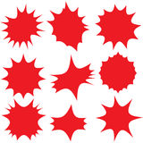 Red bursts. Red burst assorted symbol illustrations Royalty Free Stock Image