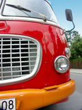 Red bus. Up front royalty free stock photos