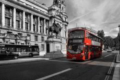 Red bus. Routemaster double decker bus May 24,2012 in London. The traditional red Routemaster has become a famous feature of London Royalty Free Stock Image
