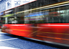 Red Bus. Bus crossing intersection in London Stock Photography