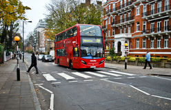 Red bus on Abbey Road Royalty Free Stock Image