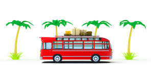 Red bus adventure Stock Photo