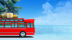 Red bus adventure on beach Royalty Free Stock Photos