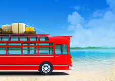 Red bus adventure on beach Royalty Free Stock Image