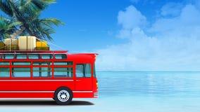 Free Red Bus Adventure On Beach Royalty Free Stock Photos - 21417868