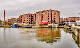 Red Bus at Albert Dock Liverpool royalty free stock photos