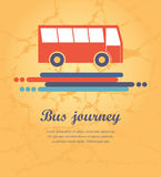 Red bus with arrows direction of the path. Red bus on a yellow background with arrows direction and path space for text Stock Photo