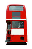 Red Bus Back. The rear end of a red London double deck bus stock photo