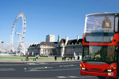 Red bus, Big Ben on London cityscape. Royalty Free Stock Photo